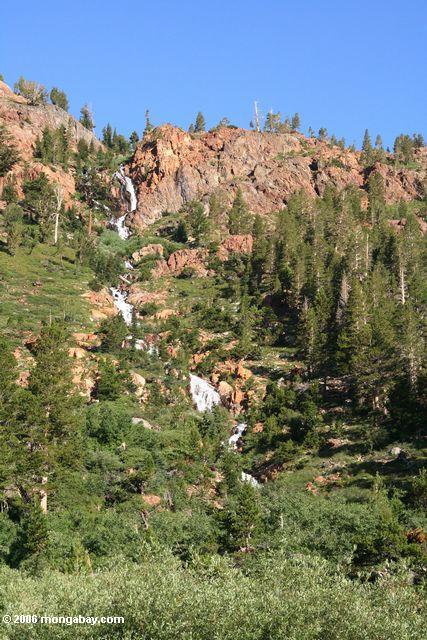 Водопад впадающих в озеро зеленый