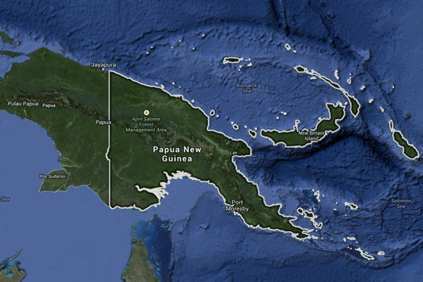 Satellite image of PNG. Courtesy of Google Earth
