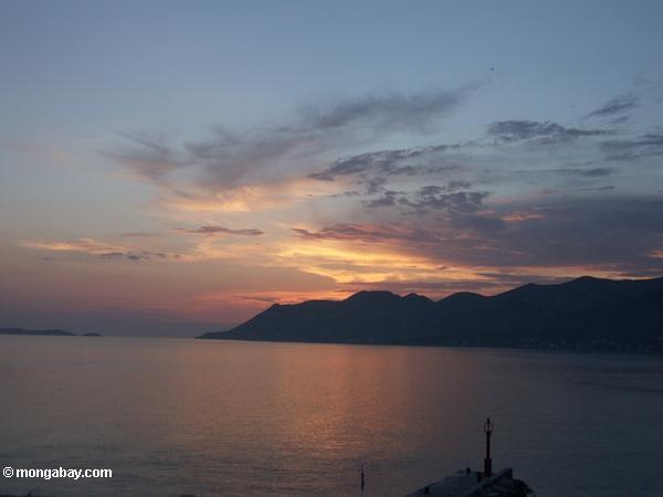 Korčula Stadtsonnenuntergang vom Massimo Stab