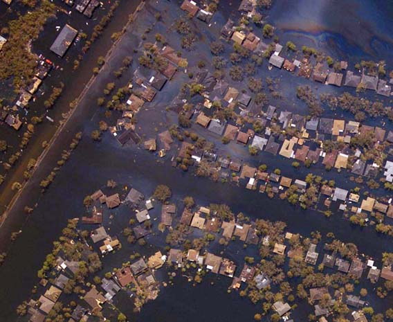 New Orleans, La., where homes were nearly swallowed up by flood waters.