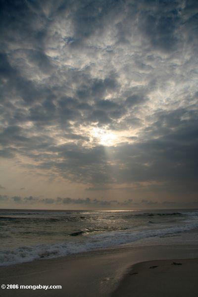 Закат над Атлантическим океаном на пляже в Габон