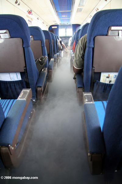 Air conditioning fog comes on in the airplabe