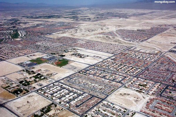 Sprawl in the desert: urban sprawl spreading out from Las Vegas. Photo by: Rhett A. Butler.