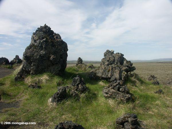 lava stone piles