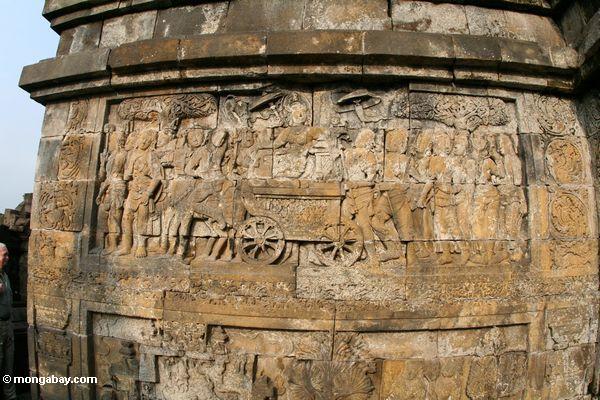 Wandbildwand Carvings bei Borobudur