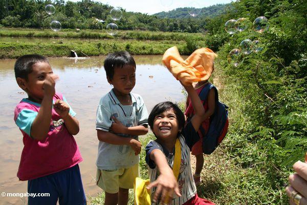 Die Kinder, die mit Luftblasen Toraja
