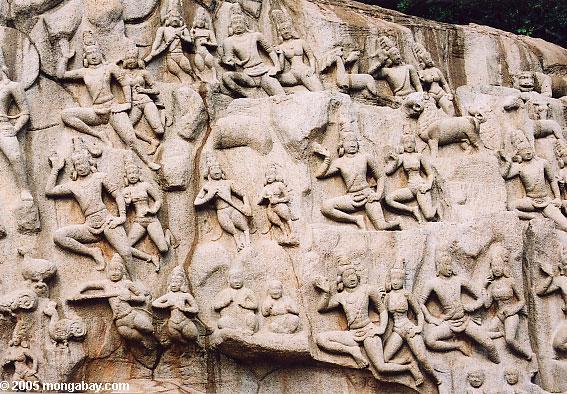 Carvings de pedra de Panch Rathas
