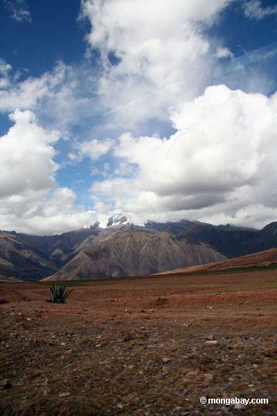 Paisagem Andean com geleiras e pico neve-tampado