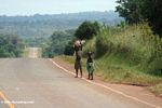 Kids along a highway in Uganda