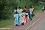 Mothers and children walking home from church