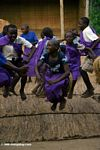 Bwindi children, many of whom are AIDS orphans, performing traditional songs and dances