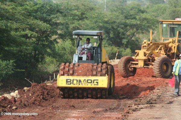 Equipamento de construção em Uganda