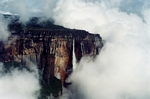 Angel falls, the world's tallest waterfall, seen from an airplane