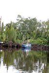 Boat docked on the Seikonyer River in Borneo (Kalimantan, Borneo (Indonesian Borneo))