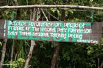 Sign for the Pasalat Reforestation Project in Tanjung Puting National Park (Kalimantan, Borneo (Indonesian Borneo))