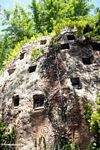 Tombs carved in a rock face at Lemo (Toraja Land (Torajaland), Sulawesi)