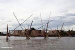 Fishing nets on river draining Lake Tempe (Sulawesi (Celebes))