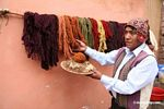 Alpaca and sheep wool colored naturally with plant and insect dyes