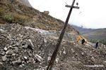 Site of large mudslide that blocked railroad tracks from Ollantaytambo to Machu Picchu Pueblo